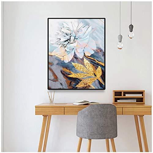 ZXYFBH Cuadros Decoracion Salon Póster de Arte de Pared Abstracto Flor con Hoja Lienzo Pintura al óleo Dormitorio Sala de Estar decoración del hogar póster e Impresiones de imágenes