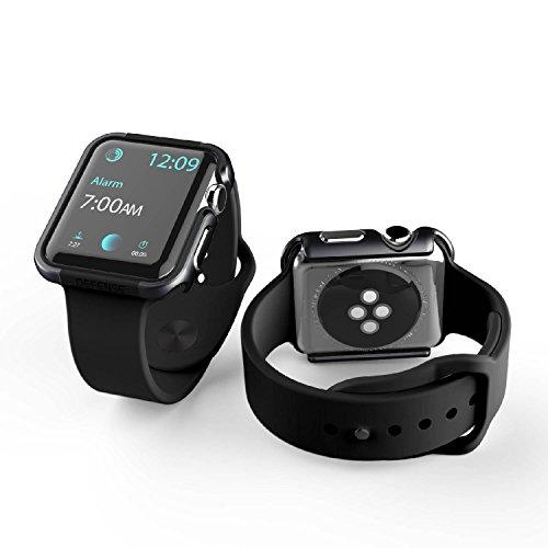 X-Doria 42mm Apple Watch Case (Defense Edge) Premium Aluminum and TPU Bumper Frame (Charcoal) - Compatible with Apple Watch Series 1, Series 2, Series 3 and Nike+
