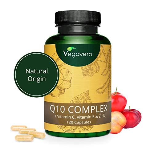 COENZIMA Q10 Vegavero® | Antiossidante & Anti Invecchiamento | Con Vitamina C, Vitamina E, Acerola E Zinco | 120 Capsule | Vegan