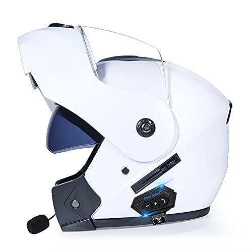 HZIH Bluetooth Casco Moto,Casco Moto Modular ECE Homologado,Doble Visera Casco Moto Abatible,Unisexo para Motocicleta Bicicleta Scooter Cascos de Moto Modulares M,XL=61~62cm