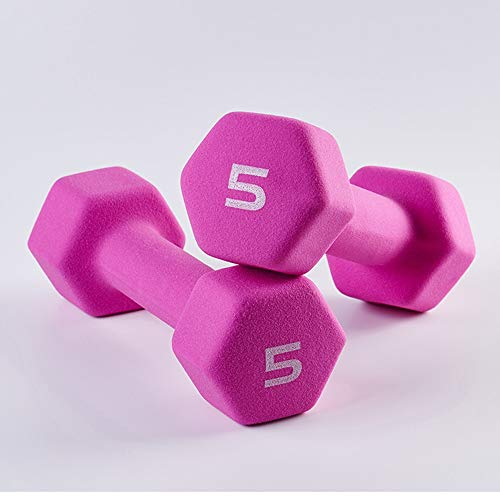 Barbell Neoprene Coated Dumbbell Weights,(1 Pound/ 2 Pound /3 Pound/ 4 Pound/ 5 Pound) Pair of 2 (Size : Purple 2×4lb)