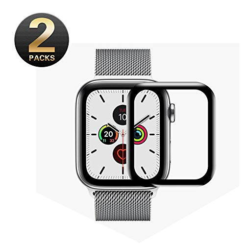 BixMe Screen Protector for Apple Watch 44mm Compatible for Series 4/5 IWatchTempered Glass Screen Protector Full-Coverage Anti-Bubble (2 Pack)