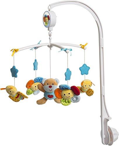 Bieco Musik-Mobile Baby Bär Blau | Spieluhr Baby Mobile | Babymobile für Bett | Beobachten, Lauschen & Staunen | Guten Abend, Gute Nacht |  Ab 0 Monaten 0 Jahren | Kinderbett mobile baby musik