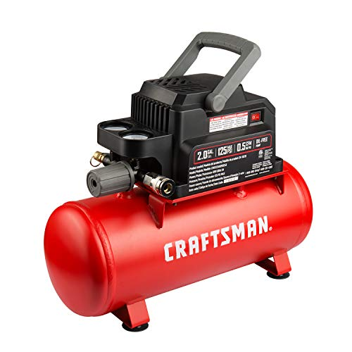 Craftsman Air Tools, 2 Gallon Portable Air Compressor 1/3 HP Oil-Free Max 125 PSI Pressure, Hot dog, Model: CMXECXA0200243