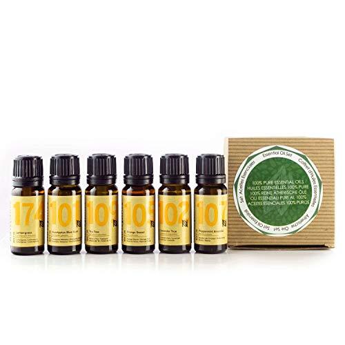 Naissance Aceites Esenciales 100 % Puros Set Regalo - Aceites esenciales top 6: lavanda, naranja dulce, lemongrass, menta, árbol de té y eucalipto - Regalo ideal para alguien especial