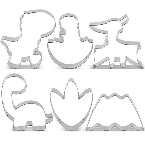 LILIAO Cute Dinosaur Cookie Cutter Set - 6 Piece - T-rex Brontosaurus Pterosaur Dino in Egg Dinosaur Foot and Volcano Biscuit and Fondant Cutters - Stainless Steel