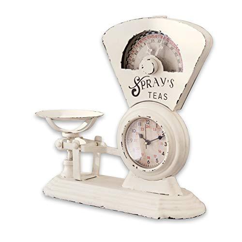 Loberon Uhr Balances, Eisen/Glas, H/B/T ca. 30,5/32,5/12 cm, antikweiß