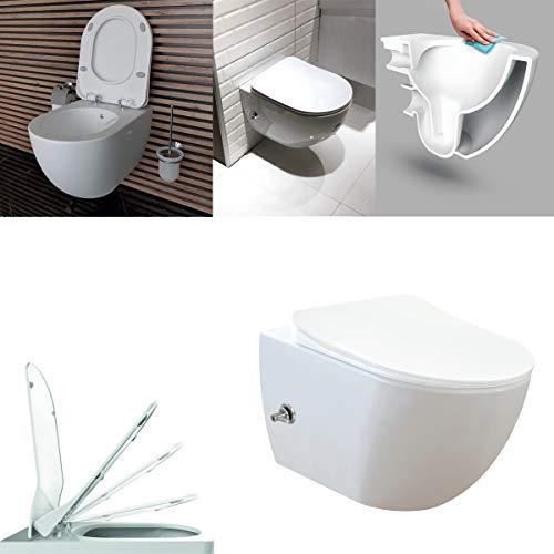 CREAVIT Spülrandlos integrierte Kalt und Warmwasser Armatur Hänge Dusch WC Taharet Bidet Taharat Intimdusche inkl. Duroplast Soft-Close Deckel FE322
