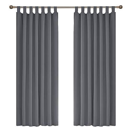 Amazon Brand – Umi 2 Schals wärmeisolierende Schlaufen Vorhang Blickdicht Gardine Schlafzimmer 140x175 cm Grau