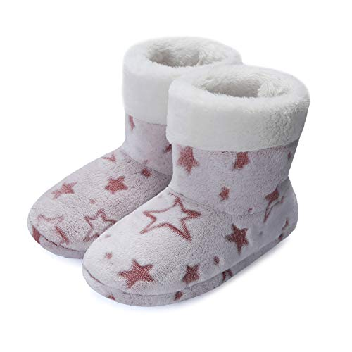 mysoft Women's Comfort Winter Bootie Slippers, Unique Flannel Indoor Memory Foam House Shoes Purple