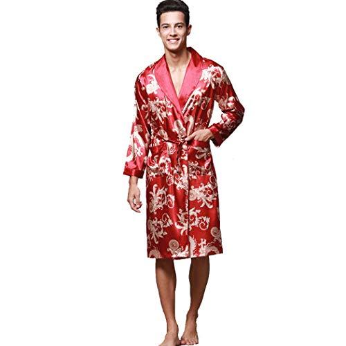 GJF Mannen pyjama's Mid lange zijdesatijnen badjas lange mouwen bedrukt Nightgownrobe met zakken en riem