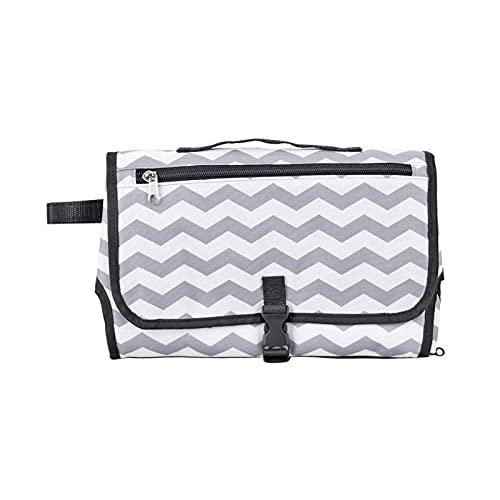 WangQianNan Plegable 3 en 1 multifuncional portátil cambiador plegable para bebé, bolsa de pañales impermeable, cambiador de pañales, artículos esenciales para viajes al aire libre (color gris)
