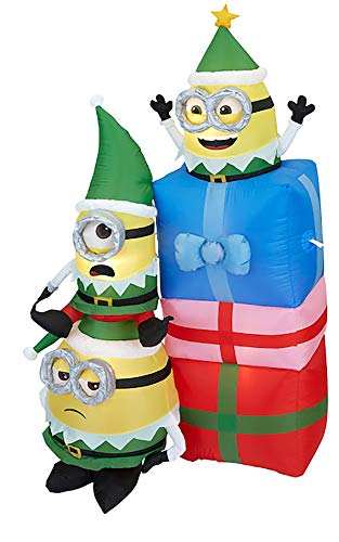 Gemmy 6.5Ft. Tall Christmas Inflatable Minions Dressed As Elves with 3 Presents Indoor/Outdoor Holiday Decoration