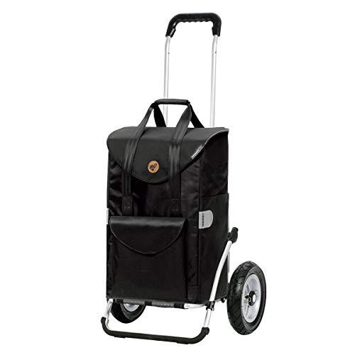 Andersen Einkaufstrolley Royal mit kugelgelagertem Luftrad 25 cm und Einkaufstasche Senta schwarz 49 Liter