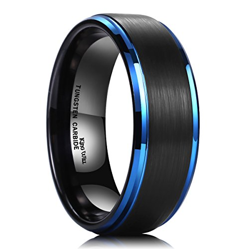 King Will DUO 8mm Black Brushed Finish Tungsten Carbide Ring Blue Plated Wedding Band(9.5)