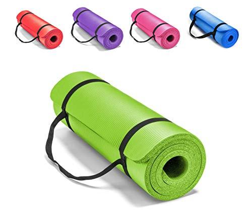 Extra dicke 1 cm Trainingsmatte mit Schulterschlaufe - 25 mm rutschfestes, feuchtigkeitsbeständiges Schaumkissen für Pilates & Trainingsunterstützung für Gelenk & Gesundheit (grün, 10 mm)