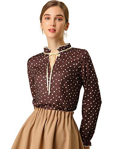 Allegra K Damen Langarm Ruffle V Ausschnitt Polka Dots Top Bluse Maroon Rot M