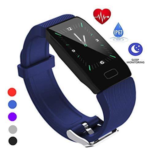 Tracker attività, linyinghdian Bracciale Intelligente Impermeabile IP67, Orologio Intelligente con cardiofrequenzimetro, Bracciale Sportivo con contapassi per telefoni Android e iOS(Nero)