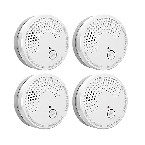 4 Pack Smoke Detector Fire Alarms 9V Battery Operated Photoelectric Sensor Smoke Alarms Easy to Install with Light Sound Warning, Test Button,9V Battery Included Fire Safety for Home Hotel School