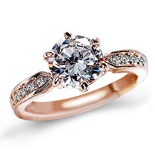 QJLE 1.5 Carat CZ Diamond Cut Cubic Zirconia Engagement Rings for Women,18K Rose Gold Plated Dainty Promise Solitaire Wedding Ring Band (Rose Gold, 6.5)