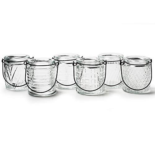 Annastore 12 x Windlichter oder Vasen aus Glas mit Henkel 9 x 8 cm - Teelichtgläser - Hängewindlichter - Teelichtgläser zum Hängen - Glaswindlichter - Teelichthalter