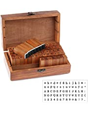 Lainrrew 70 pcs Mini Wood Rubber Stamps, Rustic Alphabet Letter/Number/Symbol Stamps with Wooden Storage Box for Scrapbook, Card Making, Crafts