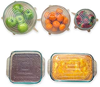 Silicone Stretch Lids (Variety Pack) - By Modfamily - SQUARE Silicone Lids - 2 Square Lids & 3 Round Lids - Stretch N' Seal, Food Saver, Reusable, Durable, and Expandable Lids