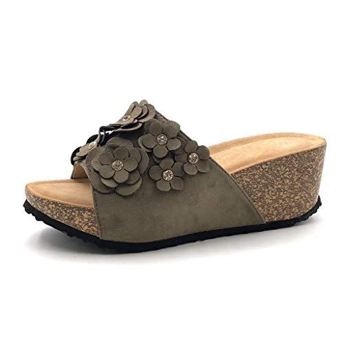 Angkorly - Zapatillas Moda Mules Sandalias comode práctico cómodo Mujer Flores Corcho Plataforma 6.5 CM