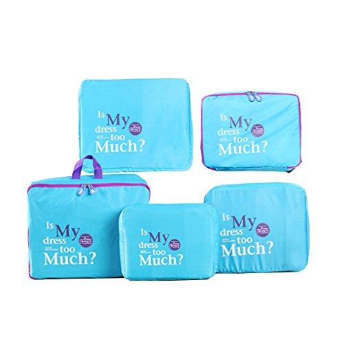 Lot de 5pcs Sac de Rangement Kits Voyage Stockage Organiseur de Bagages Portable Sacoche de Lavage Trousse de Toilette Poche Linge en Nylon-Bleu