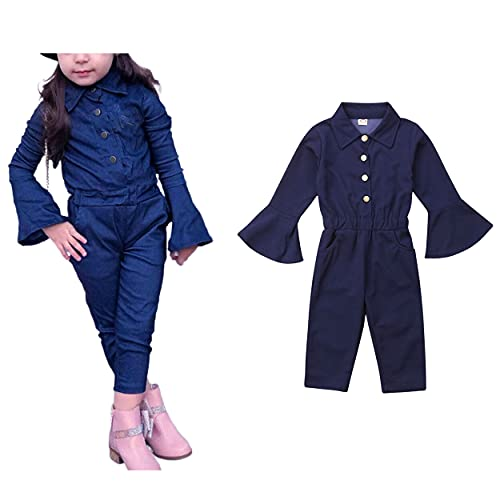 Jxzom Toddler Girls Fall Romper Solid Color Flare Long Sleeve Jumpsuit Button Down Spring Autumn Overalls Jumpsuit (Royal Blue, 4-5T)