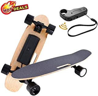 Aceshin Electric Skateboard with Wireless Remote Control for Adults Teens Youths 250W Motor,12 MPH Top Speed,Max Load 140 Lbs Electric Skateboard 7 Layers Maple Waterproof E-Skateboard (Black)