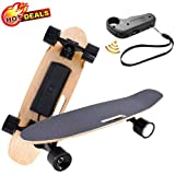 Aceshin Electric Skateboard with Wireless Remote Control for Adults Teens Youths 250W Motor,12 MPH Top Speed,Max Load 140 Lbs Electric Skateboard 7 Layers Maple Waterproof E-Skateboard (Dark)