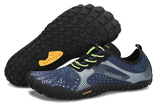 SAGUARO Sommer Unisex Barfußschuhe Schnell Trocknend Wasserschuhe rutschfest Outdoor Fitness Schuhe Blau 39
