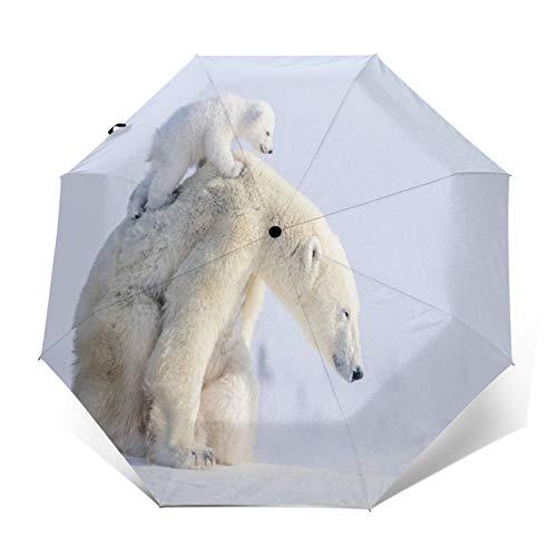TISAGUER Paraguas automático de Apertura/Cierre,En la Nieve,los Osos Polares bebés y Las...