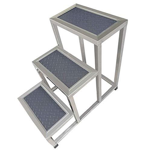 ZGYQGOO Escalera taburete para uso doméstico espesar acero inoxidable completo antideslizante duradero escalera de 3 peldaños, 2 estilos, 2 tamaños (color: A, tamaño: 40 x 67 x 60 cm)