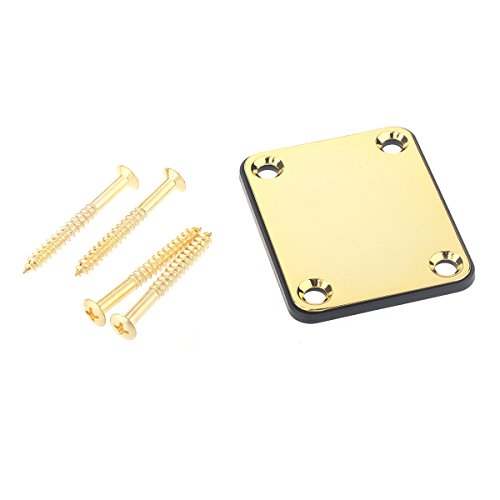 Musiclily Metal 4 Hole Guitar Neck Plate for Fender Stratcaster Telecaster Guitar or Bass,Gold