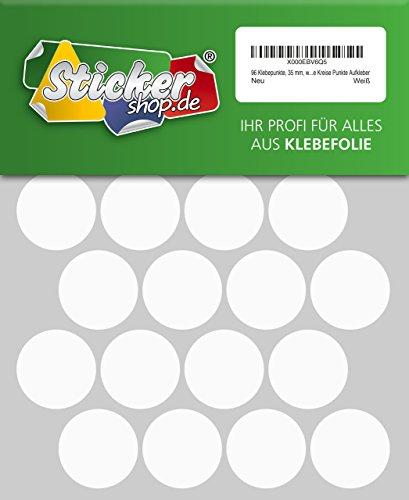 96 Klebepunkte, 35 mm, weiß, aus PVC Folie, wetterfest, Markierungspunkte Kreise Punkte Aufkleber