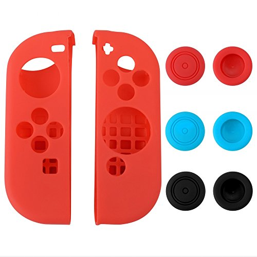 eXtremeRate Silicone Case Thumb Stick Caps Gel Guards for Nintendo Switch Joy-Con Controller Protector Protection Kits Red