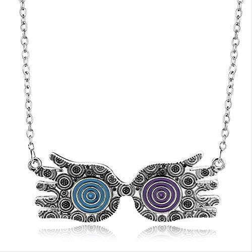 VAWAA Luna Lovegood Brille Halskette Blau Rot Silber Evil Eye Choker Halsketten Modeschmuck Collier Boheme Joyas Für Frauen Mädchen
