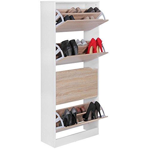 KADIMA DESIGN Schuhschrank VER mit 4 Fächern zum Klappen Schuhkommode 150 cm Schuhregal für 24 Paar Schuhe Kommode Schuhkipper modern HxB:150x60cm Sonoma