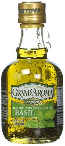 Mantova Grand Aroma flavored Extra Virgin Olive Oil, Basil, 8.5 Fl Oz
