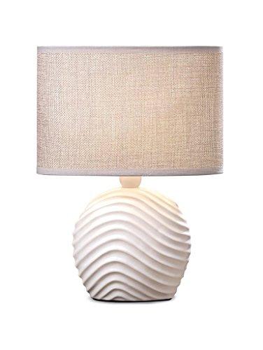 Tischlampe Keramik Kugel 28cm hoch Sand Jute Shabby Chic Landhaus