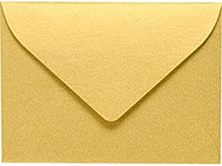 LUXPaper #17 Mini Envelopes in 80 lb. Gold Metallic for 2 9/16 x 3 9/16 Cards, Printable Envelopes for Gift Cards and Thank You's, w/Glue, 50 Pack, Envelope Size 2 11/16 x 3 11/16 (Gold)