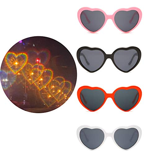 Yulefly Heart Effect Glasses Spezialeffektbrillen 4pcs 4 Farbe Romantische Herz Brille Effekt interessant Lichtbeugungsbrille 3D Heart Diffraction Glasses Herzförmige Sonnenbrille für Bar Nachtclub