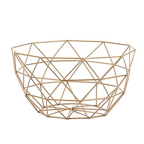 Kentop Frutero de metal, cesta de fruta moderna, frutero, diseño de alambre de metal, metal, dorado, 26×8cm