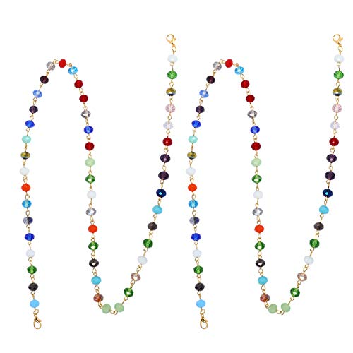 HEALLILY 2 Piezas Cadenas de Anteojos con Cuentas de Cristal Gafas de Sol Correa de Sujeción Cordones Correas de Retención de Gafas Cadenas Antideslizantes para Anteojos