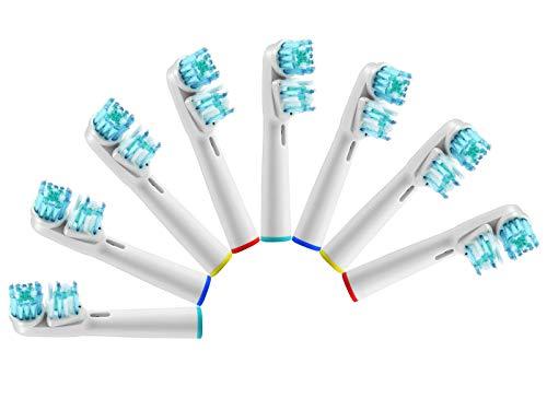 LSQtronics Pack de 8 têtes de brosses à dents de rechange Dual Clean, Brossette de Rechange Compatible pour Braun Oral B Brosse à Dents électriques