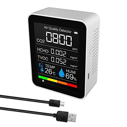 CO2 Meter 5 in 1 Luftqualitätsdetektor digitale Temperaturfeuchtigkeit Sensor Tester weiß