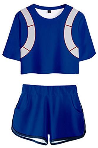 Huiyemy My Hero Academia Cosplay Todoroki Shoto Kostüm Cheerleader Cheerleading Uniform Crop Top Shorts Set XL