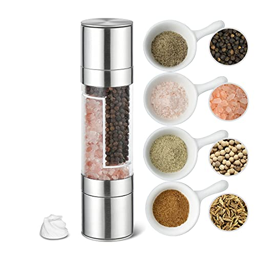 ERKIU Salt and Pepper Grinder, 2 in 1 Stainless Steel Pepper Mill and Salt Mill with Adjustable Ceramic Rotor-Sea Salt, Black Pepper, Fits in Home, Kitchen, Barbecue